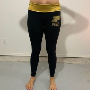Purdue PINK black and gold leggings